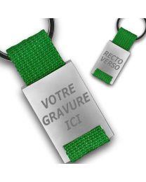 Porte clés publicitaire métal tissu gravé double face vert