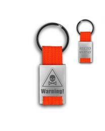 Porte clés métal tissu gravé double face orange - hover off