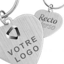 Porte clés publicitaire métal coeur