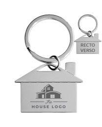 Porte-clés publicitaire gravé maison métal brillant- off