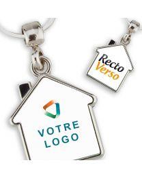 Porte clés publicitaire métal maison personnalisé double face