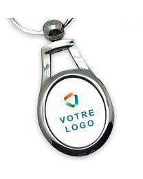 Porte clés publicitaire personnalisé métal oval ornemental
