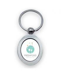 porte clés publicitaire photo métal oval