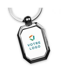 porte clés publicitaire métal cadre octogone