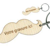 Porte clés publicitaire bois gravé moustache