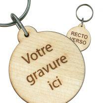 Porte clés publicitaire bois gravé rond 40mm