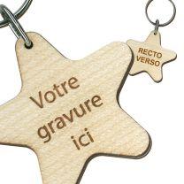 Porte clés publicitaire bois gravé étoile