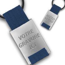 Porte clés publicitaire métal tissu gravé double face bleu