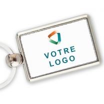 Porte-clef publicitaire metal rectangle 40x25