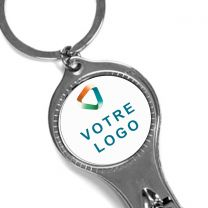 Porte-clés publicitaire métal coupe ongle et décapsuleur