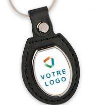porte clés publicitaire cuir métal ovale