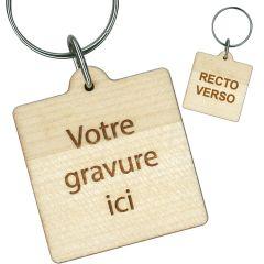Porte clés publicitaire bois gravé carré 40x40 mm