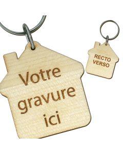 Porte clés publicitaire bois gravé maison