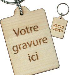 Porte clés publicitaire bois gravé rectangle 30x40 mm