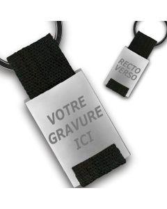 Porte clés publicitaire métal tissu gravé double face noir
