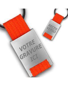 Porte clés publicitaire métal tissu gravé double face orange