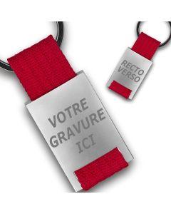 Porte clés publicitaire métal tissu gravé double face rouge