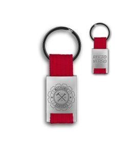 Porte clés métal tissu gravé double face rouge - hover off