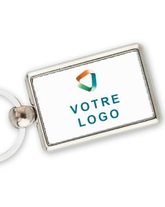 Porte-clef publicitaire metal rectangle 40x25