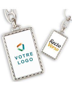 Porte clés publicitaire métal rectangle effet corde recto verso