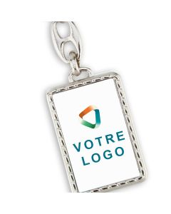 Porte clés publicitaire métal rectangle effet corde