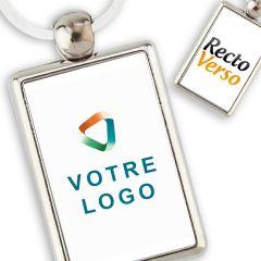 Porte Clef publicitaire Métal Rectangle 40*25 Recto Verso