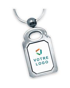porte clés publicitaire métal rectangle octogone