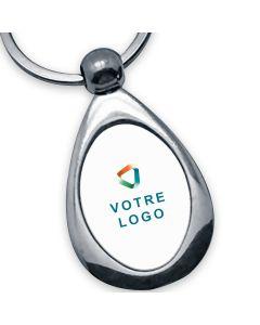 porte clés publicitaire métal goutte ovale
