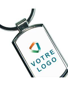 Porte-clés publicitaire métal rectangle arrondi