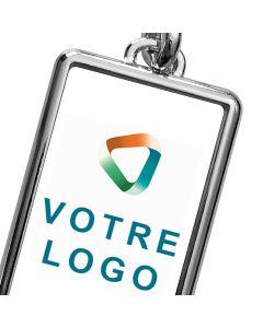 Porte-clef publicitaire métal rectangle 40x25