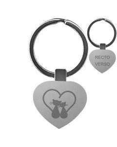 Porte clés métal tissu gravé double face noir - hover off