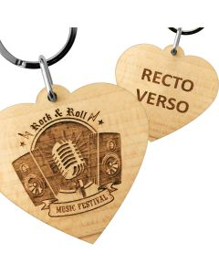 Porte clés publicitaire bois gravé cœur