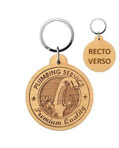 Porte clés publicitaire bois gravé rond 50mm