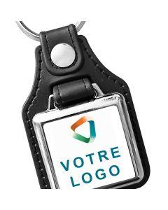 Porte clés publicitaire carré métal et cuir 25x25