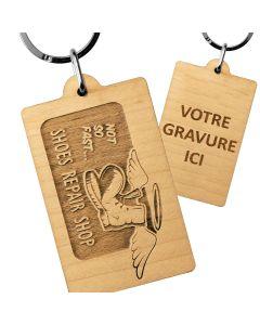 Porte clés publicitaire bois gravé rectangle 35x55 mm