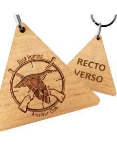 Porte clés publicitaire bois gravé triangle