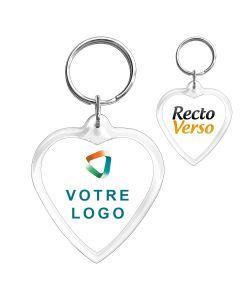 porte clés publicitaire cœur personnalisé photo