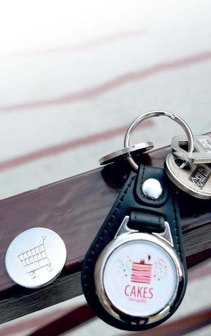 porte-clé publicitaire métal et cuir Jeton