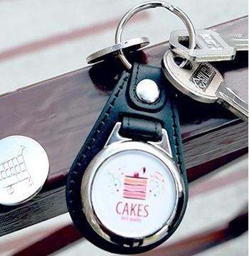 porte clé publicitaire métal et cuir jeton