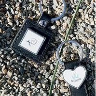 porte clé publicitaire carré cuir et métal