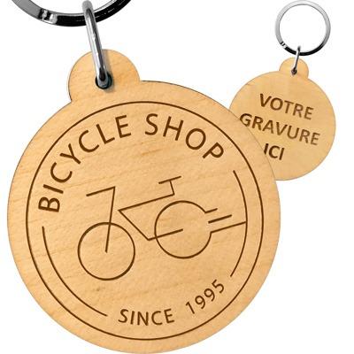 porte-cles bois rond personnalise logo entreprise de vélo goodies publicitaire