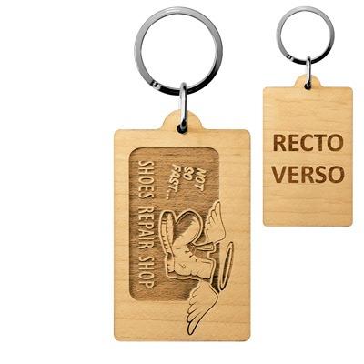 Porte-clés publicitaire rectangle bois personnalisé logo entreprise