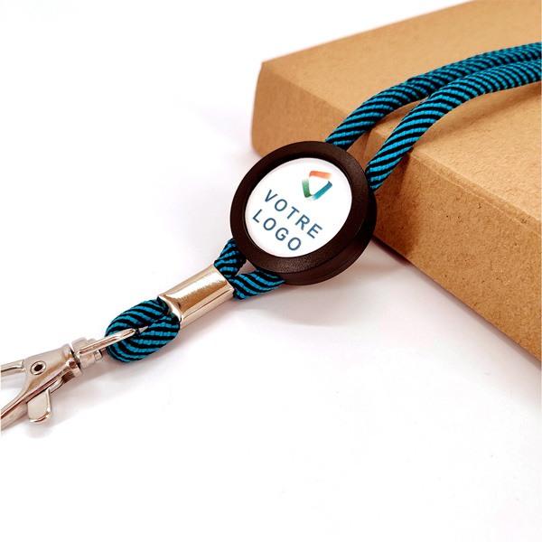 Porte-clés publicitaire lanyards tour de cou bleu logo entreprise